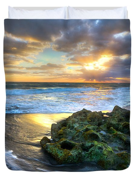 Green And Gold Duvet Cover by Debra and Dave Vanderlaan