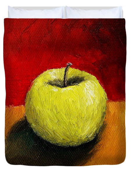 Green Apple with Red and Gold Duvet Cover by Michelle Calkins