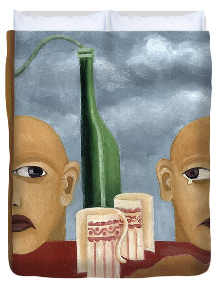 Green Bottle Agony Surrealistic Artwork With Crying Heads Cut Cups Flowing Red Wine Or Blood Frame   Duvet Cover by Rachel Hershkovitz