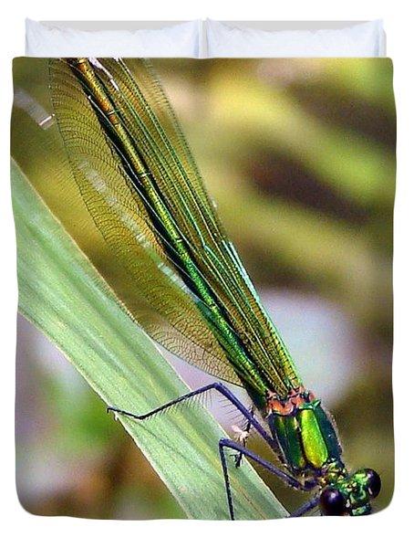 Green Damselfly Duvet Cover by Ramona Johnston