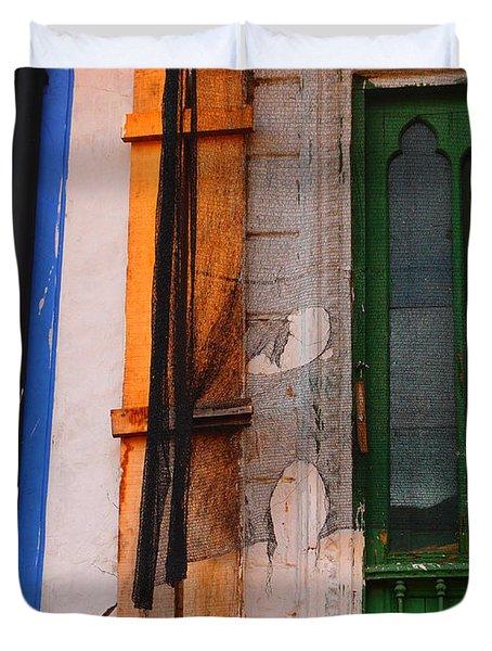 Green Door Duvet Cover by Skip Hunt