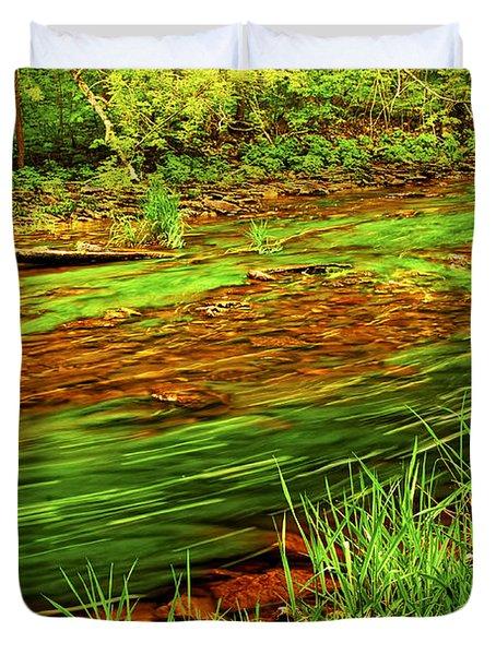 Green forest river Duvet Cover by Elena Elisseeva