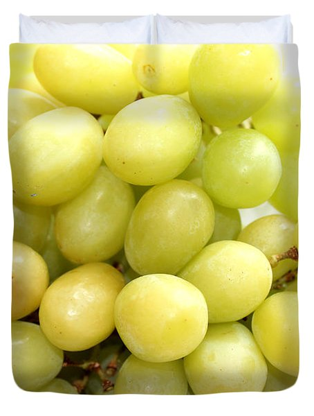 Green Grapes and Mum Duvet Cover by Barbara Griffin