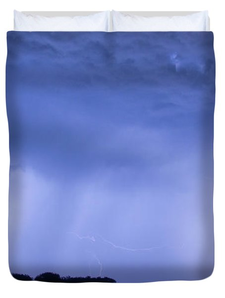 Green Lightning Bolt Ball and Blue Lightning Sky Duvet Cover by James BO  Insogna