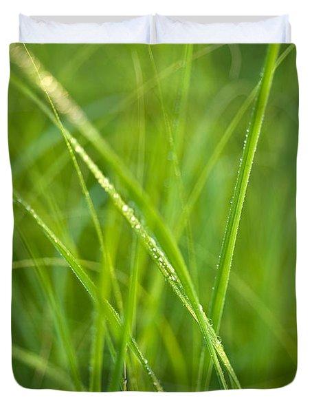Green Prairie Grass Duvet Cover by Steve Gadomski