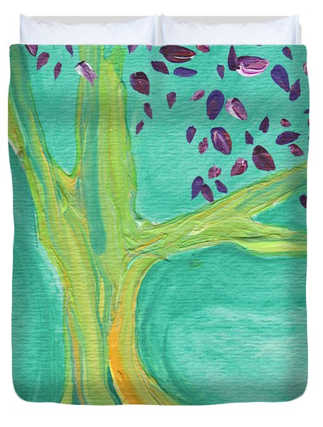 Green Tree Duvet Cover by First Star Art