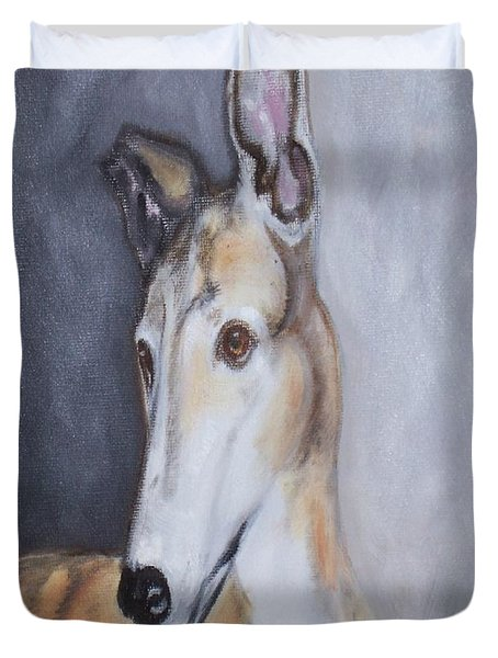 Greyhound In Thought Duvet Cover by George Pedro
