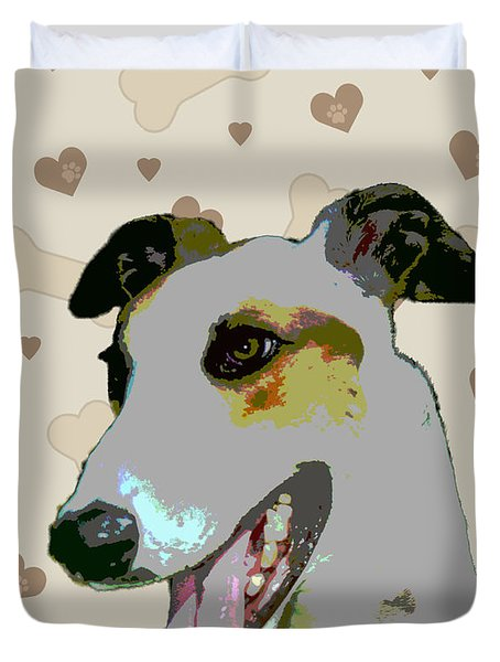 Greyhound Duvet Cover by One Rude Dawg Orcutt