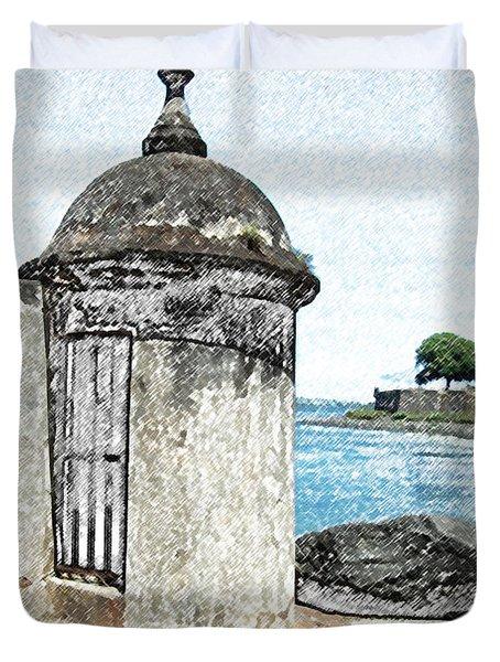 Guard Post Castillo San Felipe Del Morro San Juan Puerto Rico Colored Pencil Duvet Cover by Shawn O'Brien