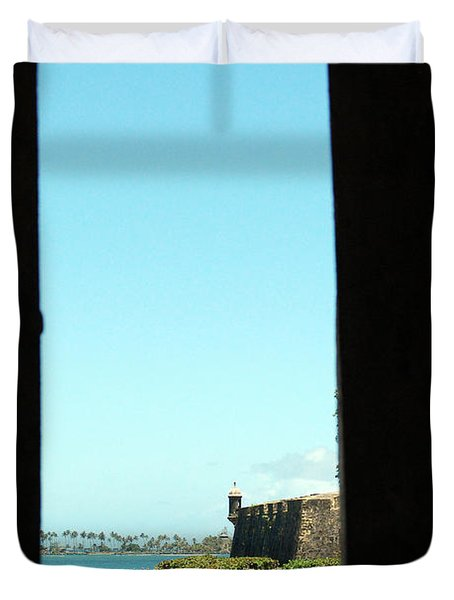 Guard Tower View Castillo San Felipe Del Morro San Juan Puerto Rico Duvet Cover by Shawn O'Brien