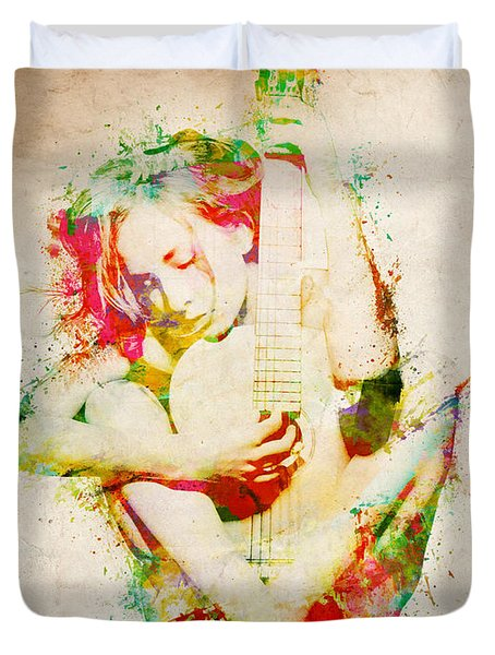 Guitar Lovers Embrace Duvet Cover by Nikki Marie Smith