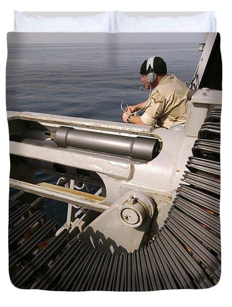 Gunner Manning A Mk-38 25mm Heavy Duvet Cover by Stocktrek Images
