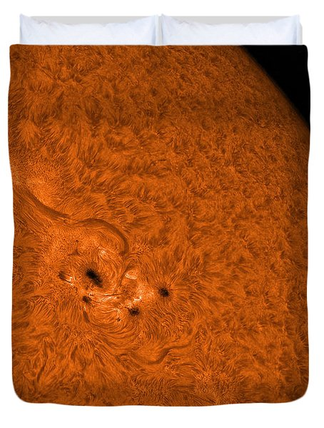 H-alpha Sun In Orange With Active Area Duvet Cover by Rolf Geissinger