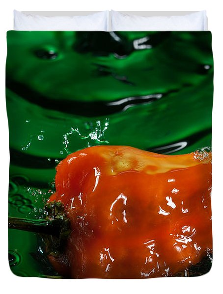 Habanero Pepper Freshsplash 2 Duvet Cover by Steve Gadomski