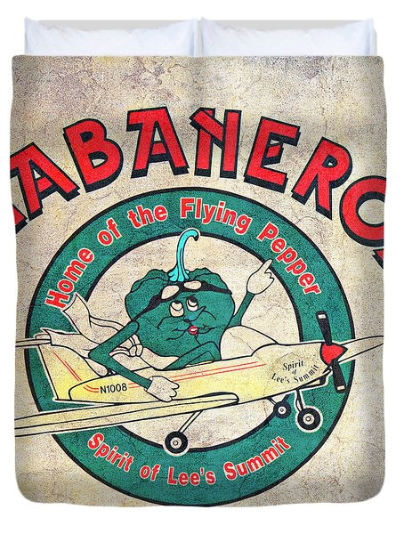 Habaneros Home Of The Flying Pepper Sign 3 Duvet Cover by Andee Design