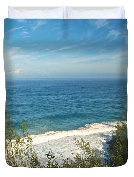 Haena State Park Overview Duvet Cover by Michael Peychich