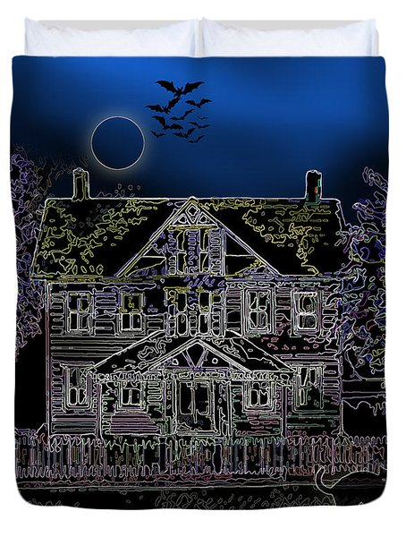 Halloween Haunt Duvet Cover by Clara Sue Beym