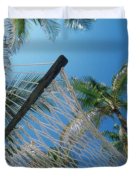 Hammock And Palm Tree, Great Barrier Duvet Cover by Ron Watts