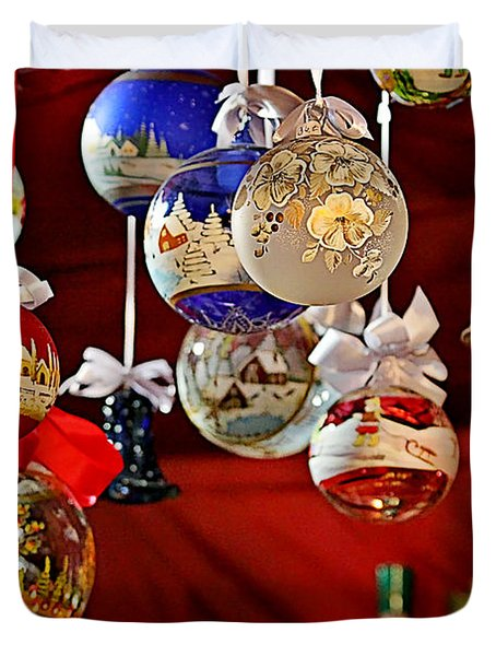 Handcrafted Mouth Blown Christmas Glass Balls Duvet Cover by Christine Till