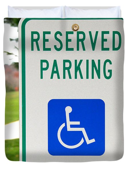 Handicapped Parking Sign Duvet Cover by Photo Researchers