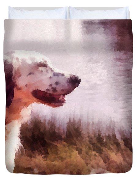 Handsome Hunter. English Setter Duvet Cover by Jenny Rainbow