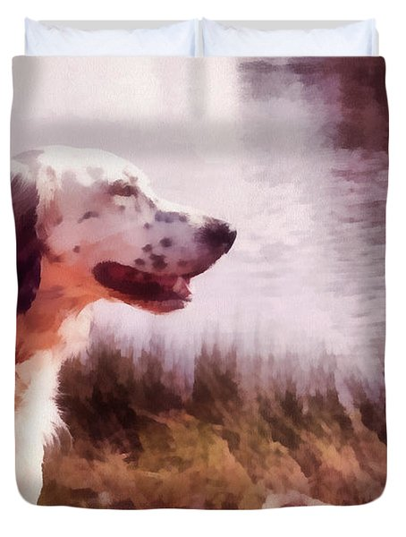 Handsome Hunter. English Setter Duvet Cover by Jenny Rainbow