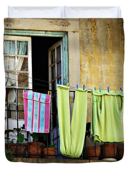 Hanged Clothes Duvet Cover by Carlos Caetano