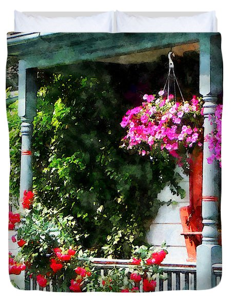 Hanging Baskets and Climbing Roses Duvet Cover by Susan Savad