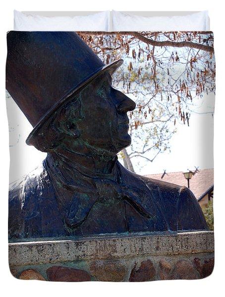 Hans Christian Andersen Statue In The Park In Solvang California Duvet Cover by Susanne Van Hulst