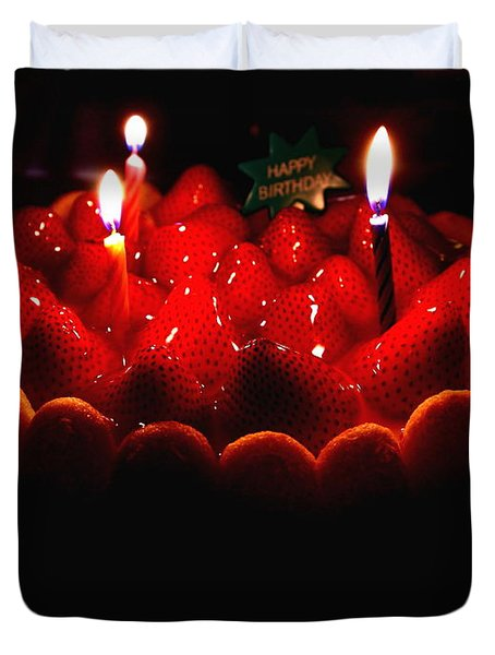 Happy Birthday Strawberry Charlotte Cake Duvet Cover by Wingsdomain Art and Photography