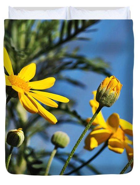 Happy Daisies Duvet Cover by Kaye Menner