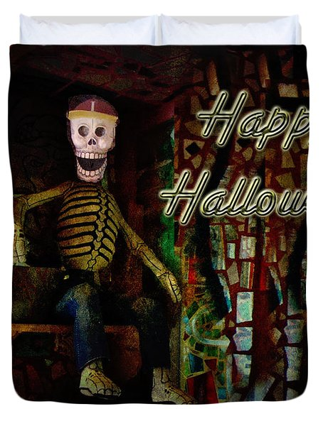 Happy Halloween Skeleton Greeting Card Duvet Cover by Mother Nature