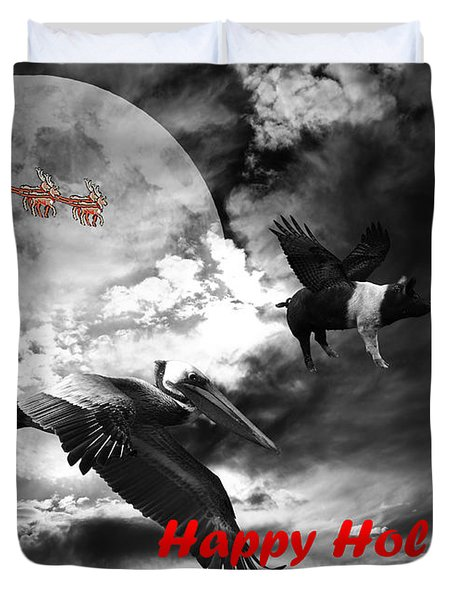 Happy Holidays . Winter Migration . bw Duvet Cover by Wingsdomain Art and Photography