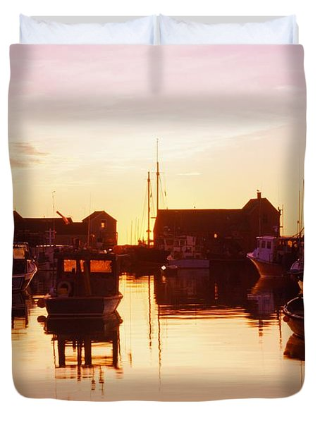 Harbor At Sunrise Duvet Cover by Bilderbuch
