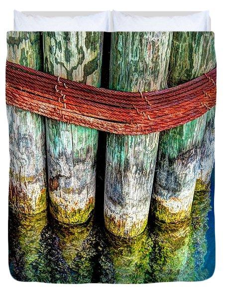 Harbor Dock Posts Duvet Cover by Michael Garyet