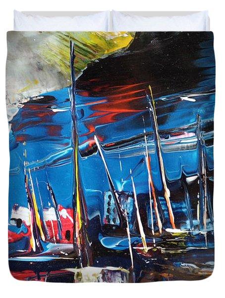 Harbour In Spain Duvet Cover by Miki De Goodaboom