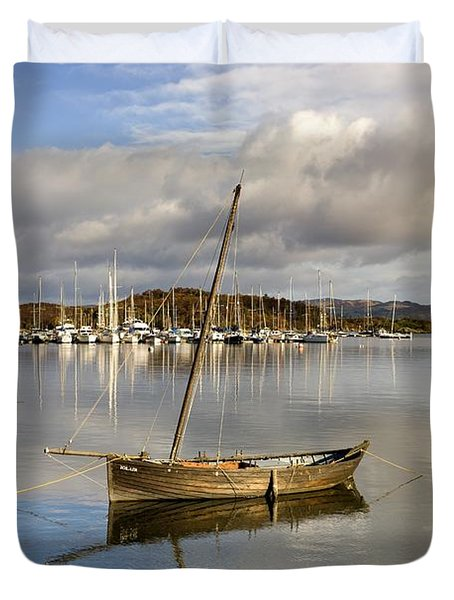 Harbour In Tarbert Scotland, Uk Duvet Cover by John Short