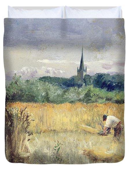 Harvest Field At Stratford Upon Avon Duvet Cover by John William Inchbold