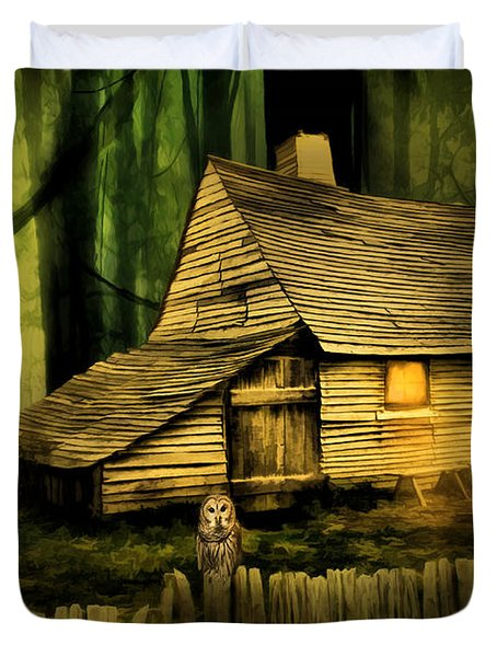 Haunted Shack Duvet Cover by Lourry Legarde