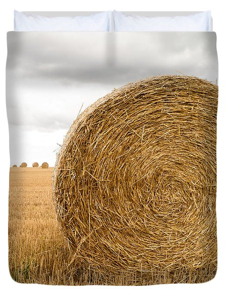 Hay Bales Duvet Cover by Edward Fielding