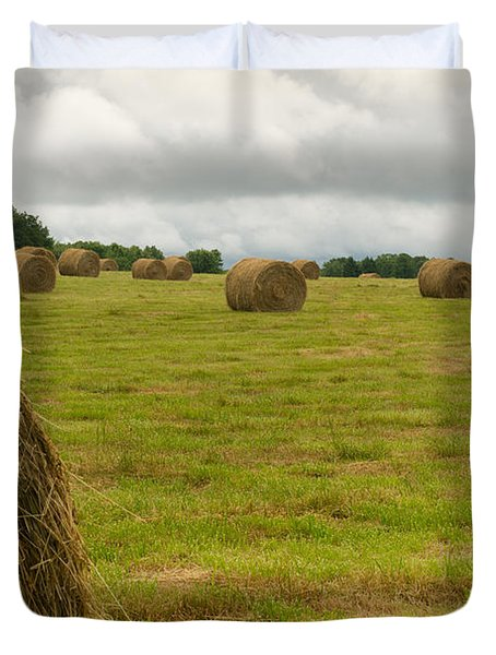 Haybales In Field On Stormy Day Duvet Cover by Douglas Barnett
