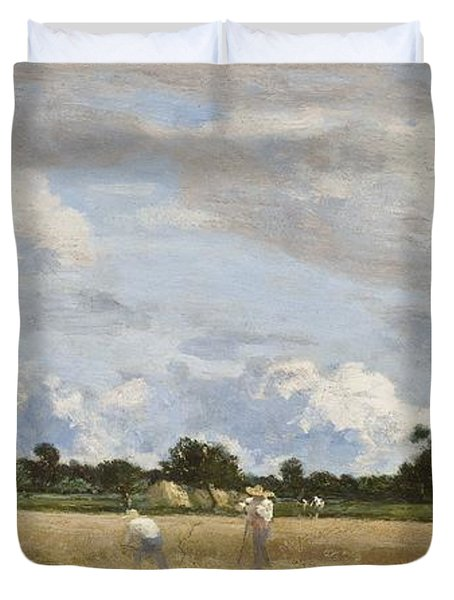 Haymaking Duvet Cover by Eugene Louis Boudin