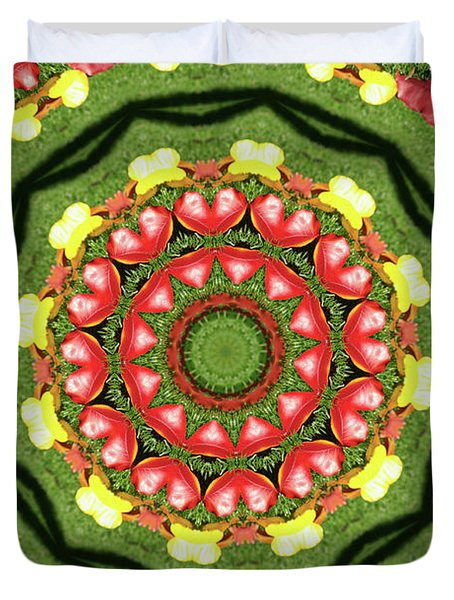 Heart Kaleidoscope Duvet Cover by Mariola Bitner