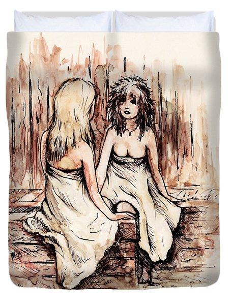 Heart To Heart Duvet Cover by Rachel Christine Nowicki