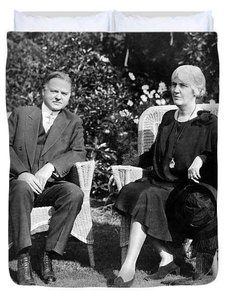 Herbert Hoover Seated With His Wife Duvet Cover by International  Images