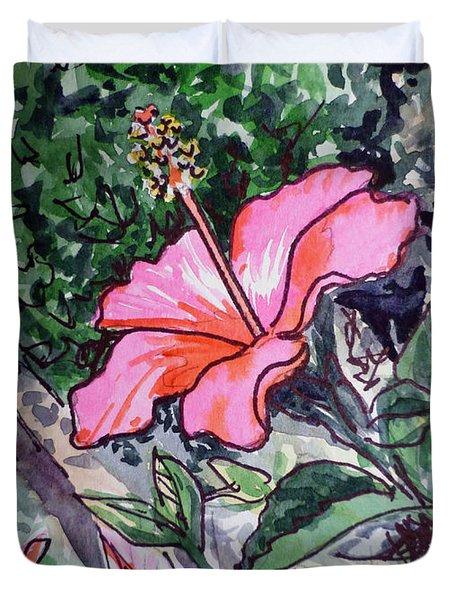 Hibiscus Sketchbook Project Down My Street  Duvet Cover by Irina Sztukowski