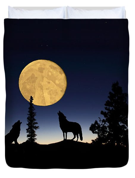 Hidden Wolves Duvet Cover by Shane Bechler
