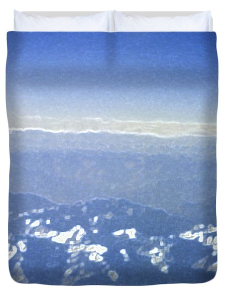 Himalayas Blue Duvet Cover by First Star Art