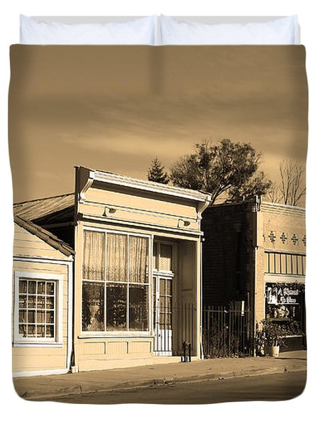 Historic Niles District in California Near Fremont . Main Street . Niles Boulevard . 7D10676 . sepia Duvet Cover by Wingsdomain Art and Photography