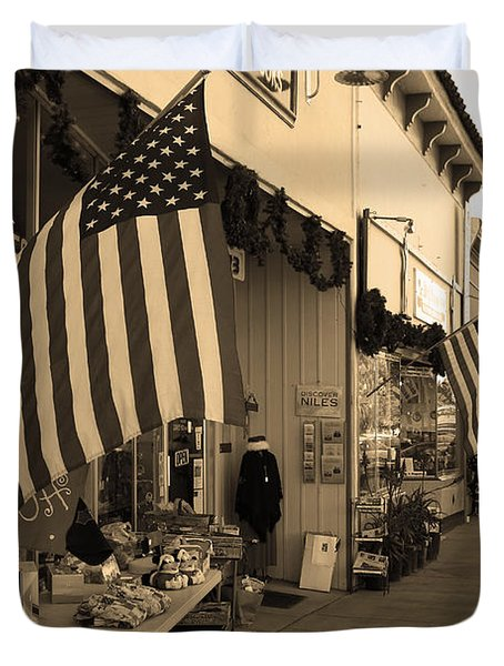 Historic Niles District in California Near Fremont . Main Street . Niles Boulevard . 7D10692 . sepia Duvet Cover by Wingsdomain Art and Photography